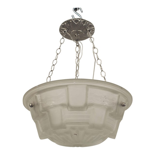 French Art Deco Frosted Glass 2-tier Pendant Bowl Form Chandelier For Sale