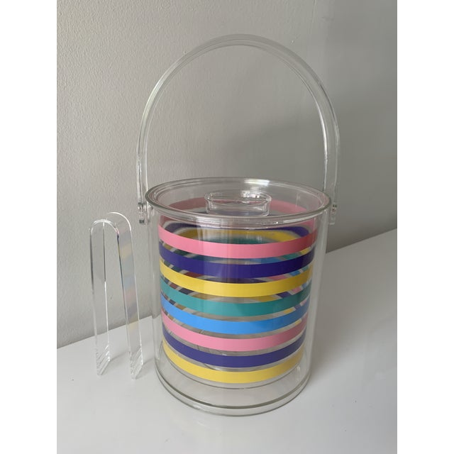 1980s Striped Ice Bucket For Sale - Image 9 of 11