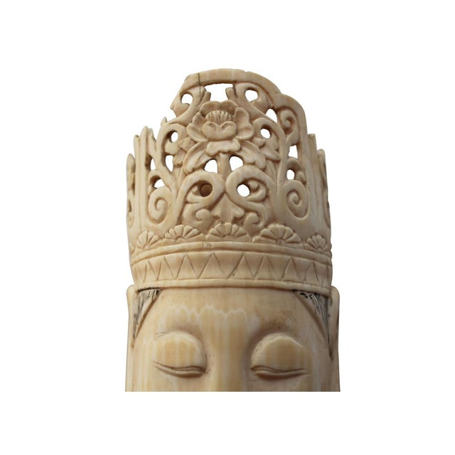 Ivory & Wood Buddha Statue For Sale - Image 4 of 4