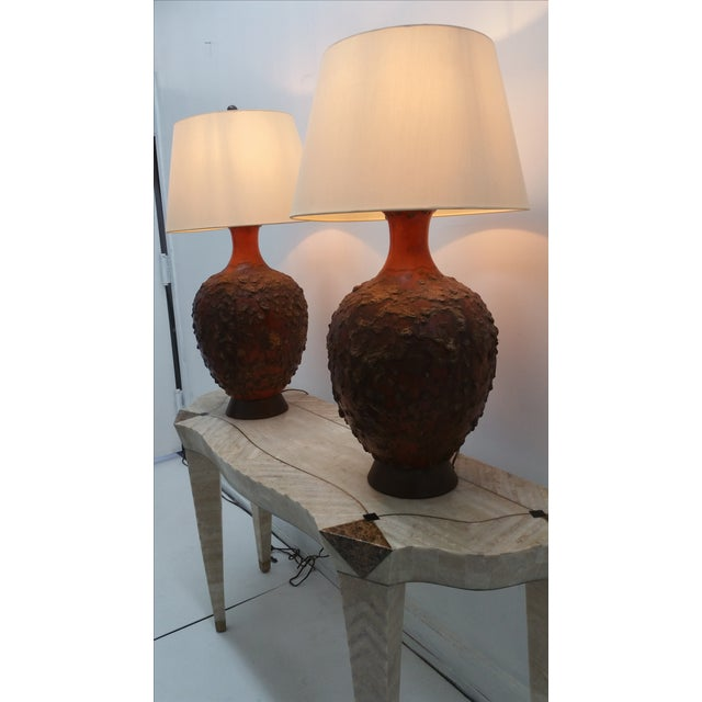 Midcentury Monumental Lava Glaze Lamps - Pair - Image 2 of 4