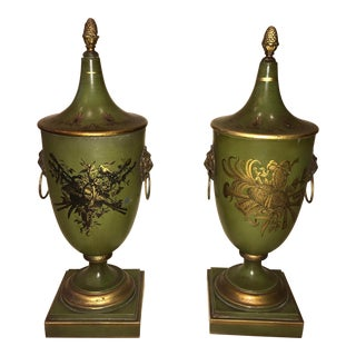 Italian Mid-Century Tole Urns - a Pair For Sale