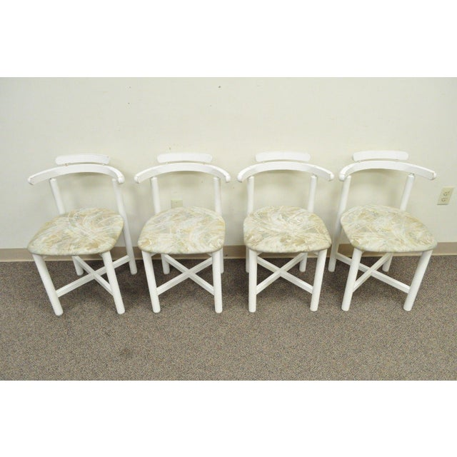 Set 4 Vintage Gangso Mobler Mid Century Danish Modern White Dining Room Chairs - Image 3 of 11