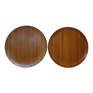 Vintage Danish Modern Round Teak Veneer Serving Trays - a Pair For Sale