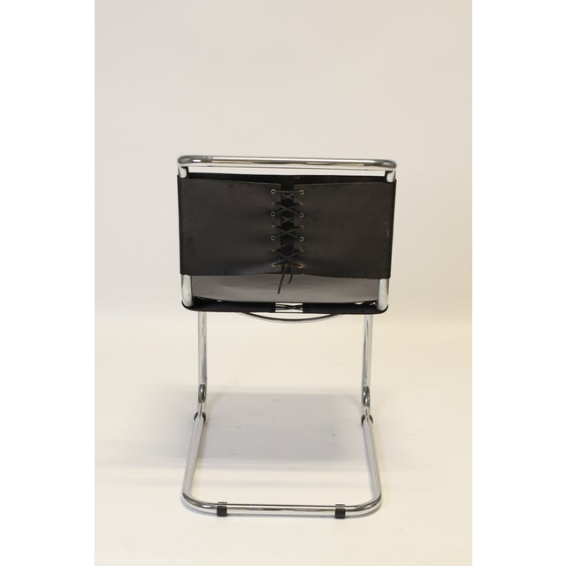 Mid-Century Modern Chrome and Leather Cantilevered Dining Chairs in the Style of Mies Van Der Rohe - Set of 8 For Sale - Image 3 of 9