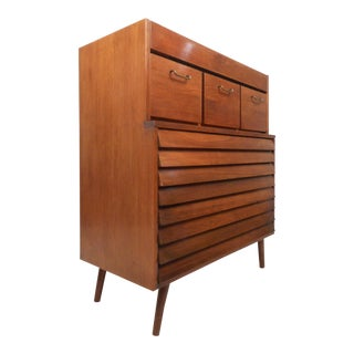 Mid-Century Modern Highboy Dresser by American of Martinsville For Sale