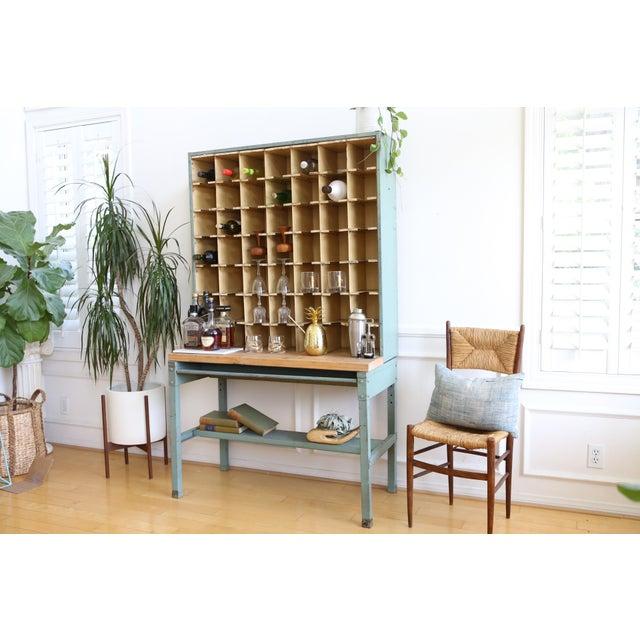 Country Vintage Industrial Mail Sorter Bar Shelf / Cabinet Desk For Sale - Image 3 of 7