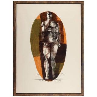 "Leonard Baskin, ""Universal Man"" Four Color Lithograph For Sale"