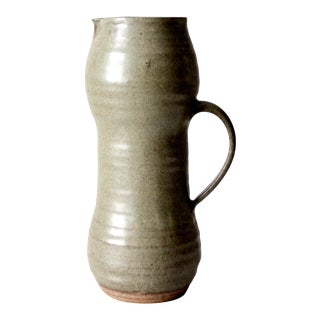 Vintage Tall Studio Pottery Pitcher For Sale