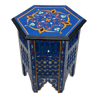 Vintage Moroccan Hand Painted Side Table For Sale