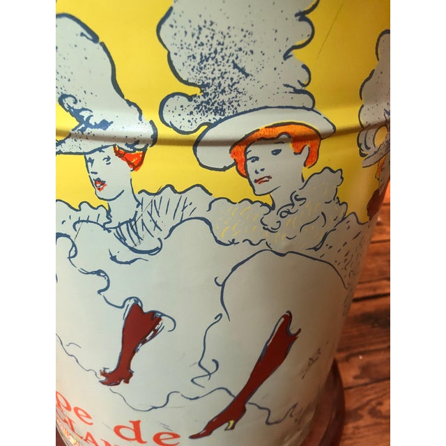 2010s Pair of Custom Tin Canister Lamps a La Toulouse Lautrec For Sale - Image 5 of 11