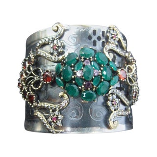 Crystal Jewel Encrusted Wide Silver Metal Cuff For Sale