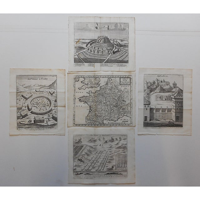 These five (5) 18th century engravings depict plans of 3 walled cities, a camp and a map of France. Printed on one side only.