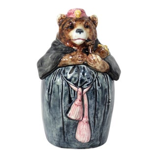 1900s Figurative Majolica Smoking Bear Tobacco Jar For Sale