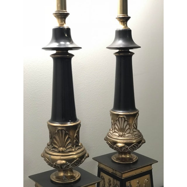 Mid 20th Century Hollywood Regency Neoclassical Style Brass and Black Lamps - a Pair For Sale - Image 5 of 7