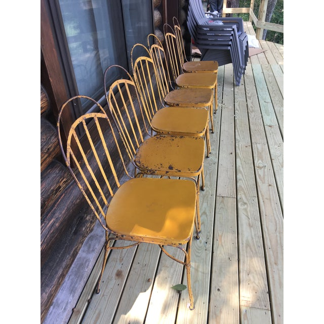 Mid 20th Century Vintage Mid Century Yellow Industrial Metal Dining Chairs-Set of 6 For Sale - Image 5 of 13