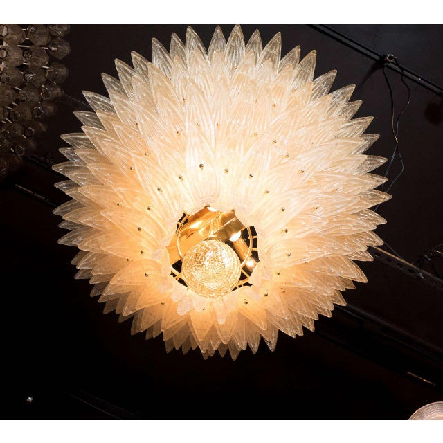 Gold Exquisite Five-Tier Handblown Champagne Murano Glass Palma Chandelier For Sale - Image 8 of 9
