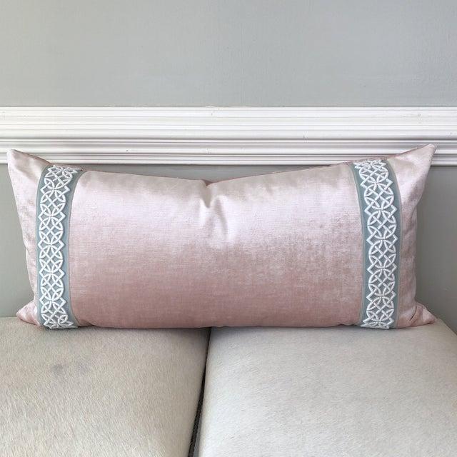 Scalamandre Trim Pink Velvet Pillow - Image 6 of 6