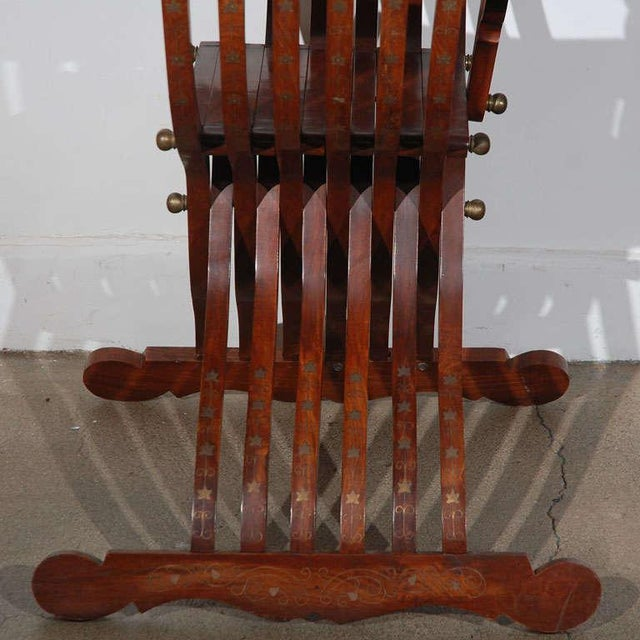 Brass Vintage Mid Century Moorish Syrian Brass Inlaid Armchair For Sale - Image 7 of 8