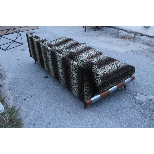 1970s Adrian Pearsall for Craft Associates Chrome Walnut Wood Sofa Couch For Sale - Image 5 of 12