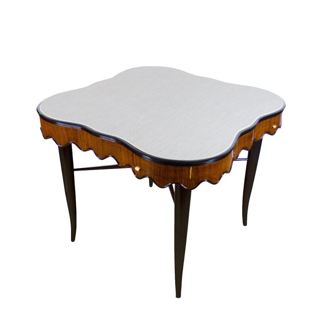 Mid-Century Modern 1940s Game Table, Mahogany, Corner Drawers, Brass, Felt, Italy For Sale - Image 3 of 8