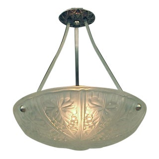 Noverdy French Art Deco Era Frosted Glass Lighting Bowl or Pendant in Grape & Leaves Motif For Sale