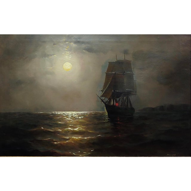 19th Century Ship Sailing by Moonlight -Oil Painting Signed by Miller For Sale - Image 4 of 9