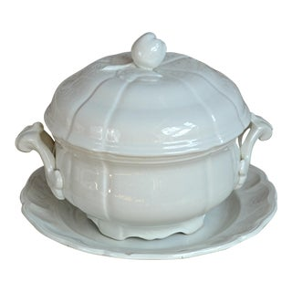 French White Stoneware Tureen For Sale