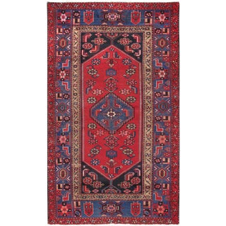 """Pasargad Vintage Shiraz Ruby Wool Area Rug- 4' 1"""" X 6' 9"""" For Sale"""