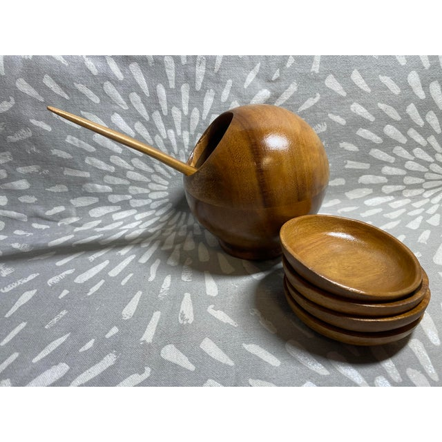 1960s Mid-Century Modern Philippine Myrtlewood Dip Set - 6 Pieces For Sale - Image 4 of 8