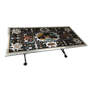 1990s Italian Pietra Dura Renaissance Mosaic Dining Room Table For Sale