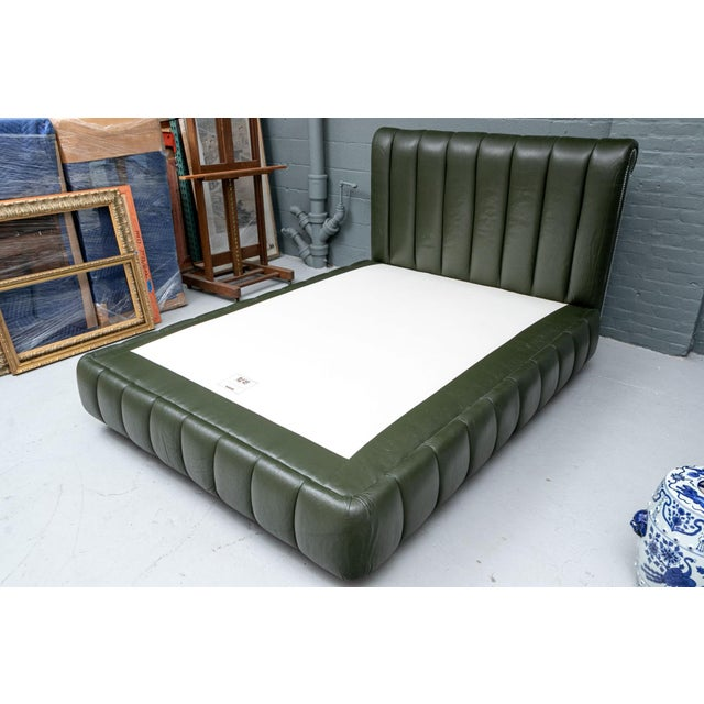 Contemporary Avery Boardman Queen Size Leather Platform Bedframe For Sale - Image 10 of 11