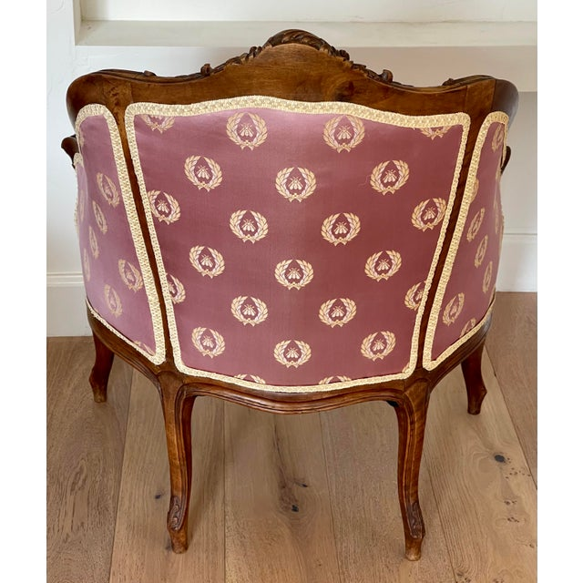 Antique French Provincial Vanity Stool W Napoleonic Bee Silk Fabric For Sale - Image 4 of 6
