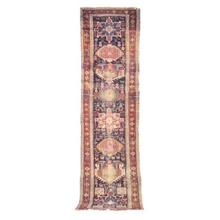 20th Century Boho Chic Kurdish Persian Runner - 3.4 X 12