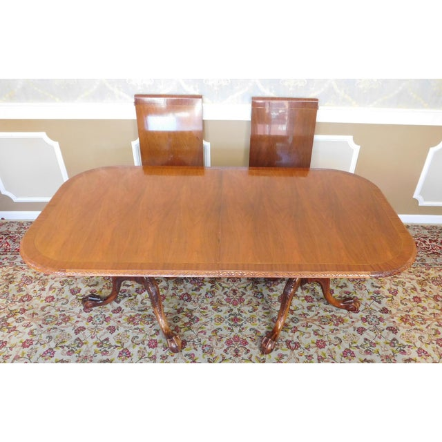 Chippendale Mahogany Banded Dining Room Table - Image 3 of 9