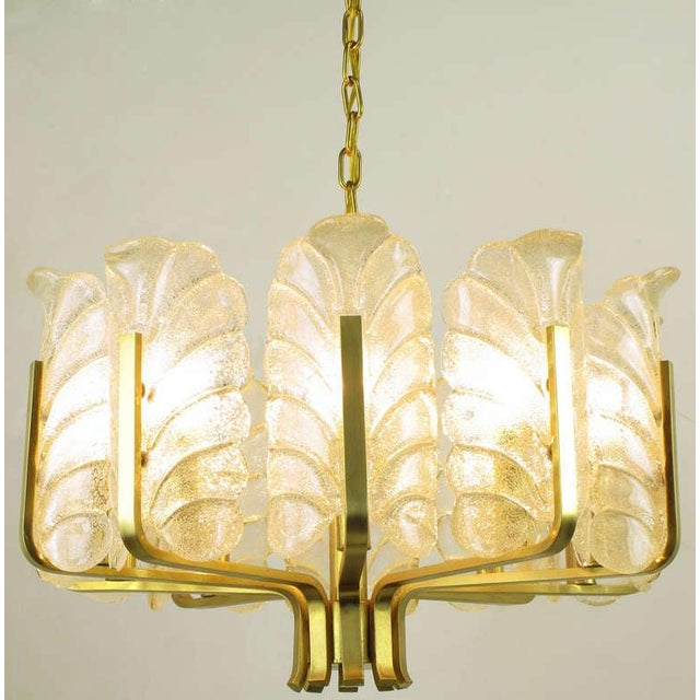 Murano Glass Acanthus Leaf and Brass Ten-Arm Chandelier For Sale In Chicago - Image 6 of 10