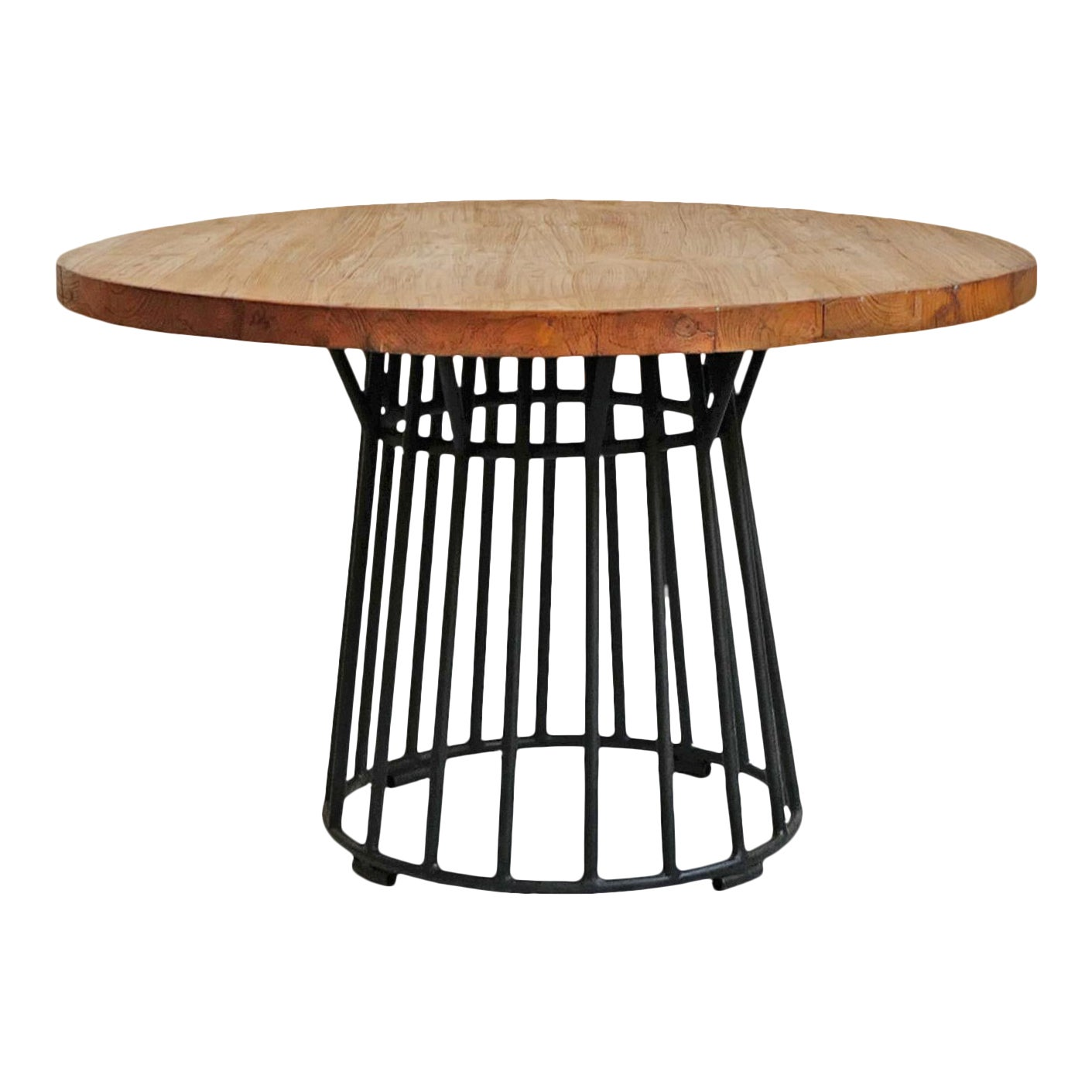 Modern Round Teak Iron Dining Table Chairish