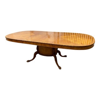Early 20th Century Batesville Burled Wood + Pedestal Oval Extension Dining Table For Sale