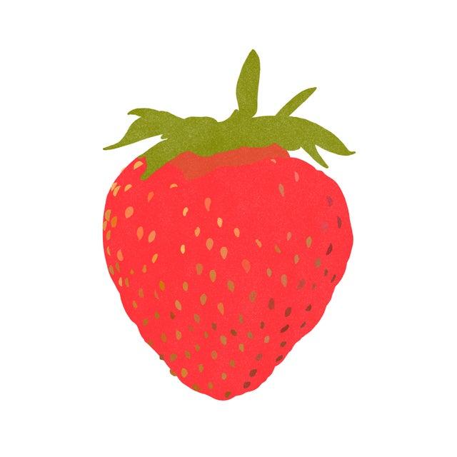 "Portrait of a Strawberry Graphic Fine Art Print - 20"" X 20"" For Sale"