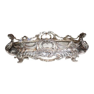 Large 19th Century French Louis XV Oval Silver Plated Jardinière With Zinc Liner For Sale