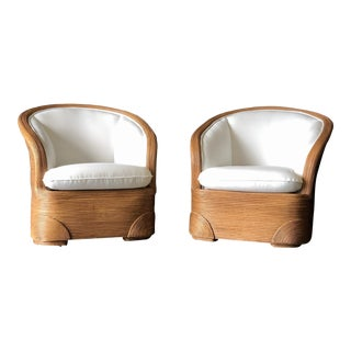 A Pair of Ficks Reed Club Chairs For Sale