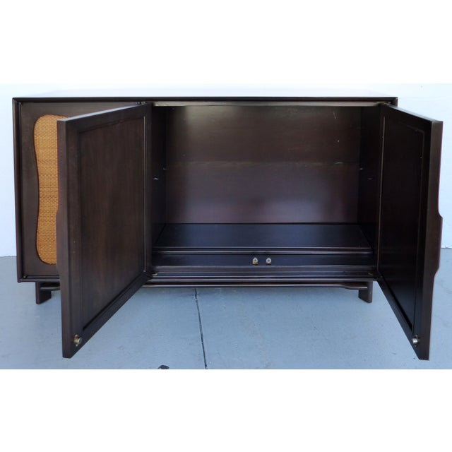 Lacquered 50's Credenza With Woven Cane Doors - Image 4 of 10