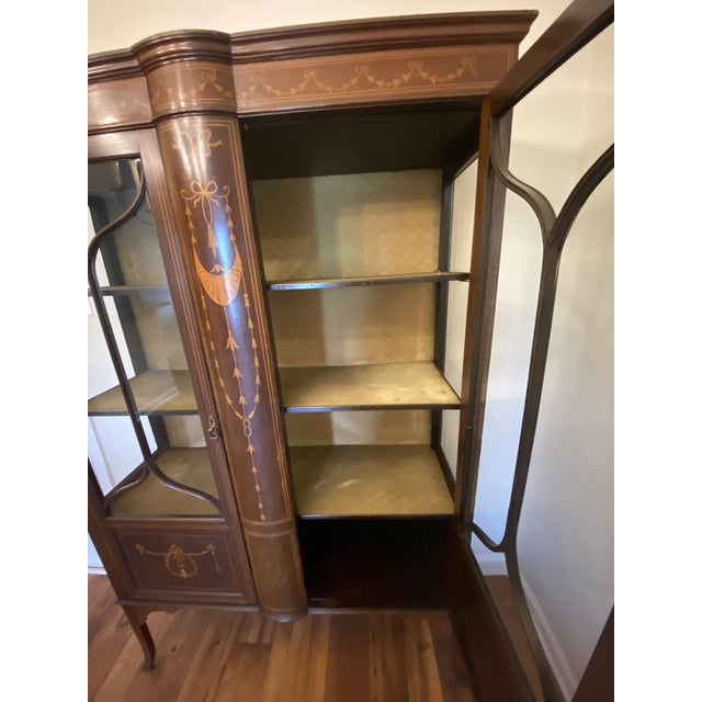 1910 Adam-Style Mahogany China Cabinet For Sale - Image 9 of 12