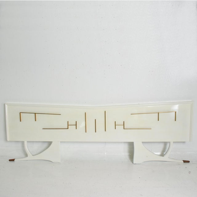 For your consideration, a mid century mexican Modernist King Size Headboard. Made in Mexico City circa 1950s. Mahogany...