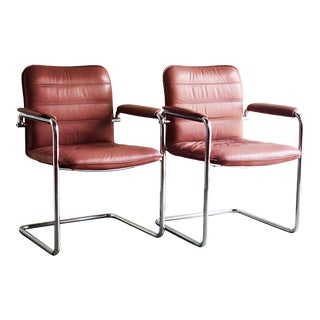 Post Modern Rose Chrome and Leather Chairs - a Pair For Sale