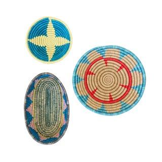 Handwoven Rwandan Multicolor Sweetgrass Coil Baskets Trio - Set of 3