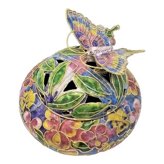 Vintage 1970s Chinese Cloisonné Butterfly Trinket Jewelry Box For Sale