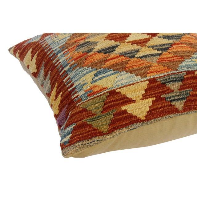 "Asian Cira Rust/Brown Hand-Woven Kilim Throw Pillow(18""x18"") For Sale - Image 3 of 6"