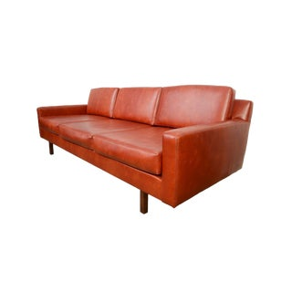 Directional Mid-Century Modern Naugahyde Burnt Orange Upholstered Sofa For Sale
