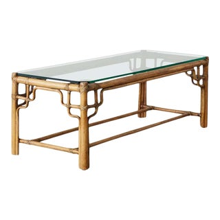 McGuire Organic Modern Bamboo Rattan Cocktail Table For Sale
