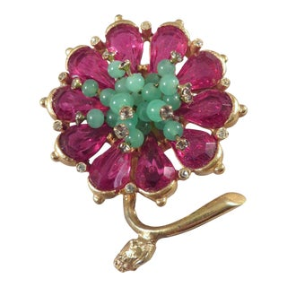1950s Vintage Kramer of New York Faux Ruby, Jade & Diamond Flower Brooch For Sale